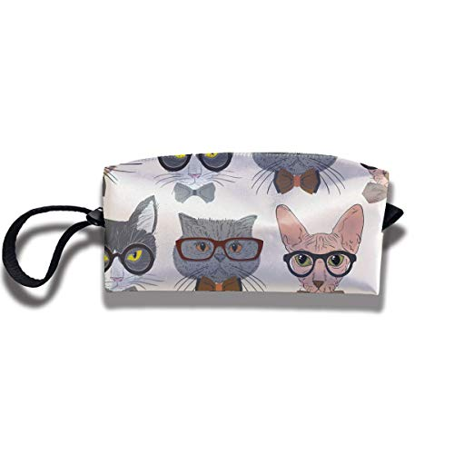Hipster Cats Pattern Print Fashion Cosmetic Pouch Bag Trendy Toiletry Purse Travel Makeup Bag Pouch with Zipper Plastic Inner Bucket