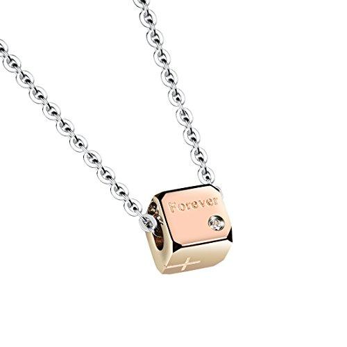 Sasavie Halskette Frau Rose Gold Anhänger Cube Forever Crystal White Liebhaber Edelstahl Geschenk zum Valentinstag - Crystal Cube-anhänger