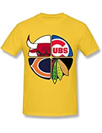 Men's Tees chicago Bulls-Cubs-Bears-Blackhawks 1 Yellow XXXXL