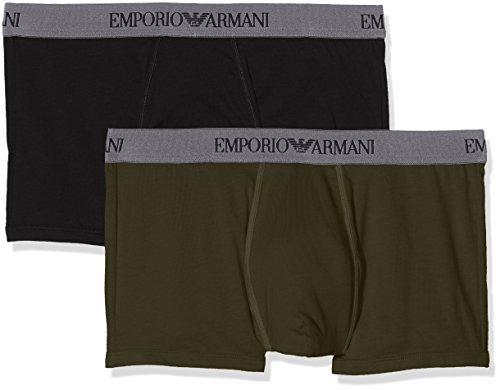 Emporio Armani  Herren Boxershorts 1116137A722,2er Pack,  Mehrfarbig (Black/Military 50720), Medium (Herren-bekleidung Armani Emporio)