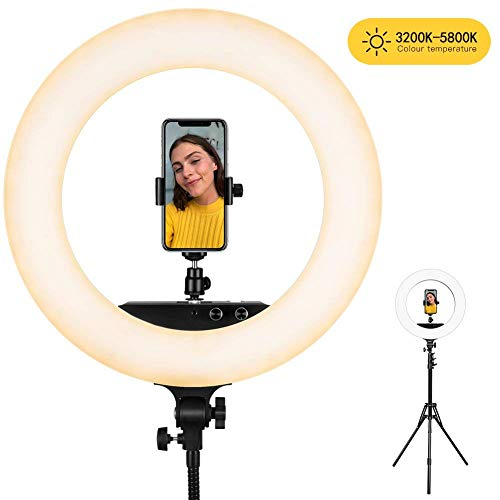 "Ring light ESDDI LED Luce Anello 48cm/ 18"" 100W Dimmerabile Temperatura Colore Regolabile 3200K-5800K Con Telefono Adattatore per Girare Video YouTube Vlog e Make-up"