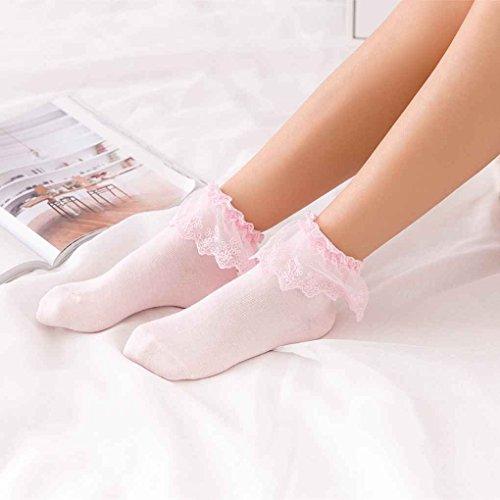 Aiming Cotton Calcetines Vintage Spitze Rüschen Rüschen Söckchen Prinzessin Girl Nette süße Frauen-Socken - Damen Rüschen-söckchen