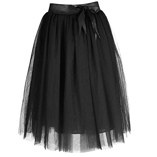 Femmes Lolita Tulle Wedding Party Jupes Petticoat Noir - Noir