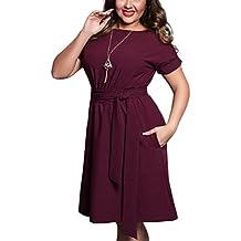 SHUNLIU Neue Stil Frauen Sommerkleid Für Kräftige Frauen Einfarbig Große Größe Sommerkeid Mollige Damen CasualKleid Partykleid Festkleid Gr.L-6XL