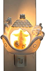 Cosmos Gifts 33270 Ceramic Noahs Ark Night Light, 3-3/8-Inch