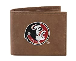 NCAA Florida State Seminoles Zep-Pro Crazyhorse Leather Passcase Embroidered Wallet, Light Brown