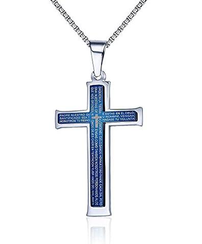 Vnox Männer Edelstahl Bibel Vers Vaterunser Schrift Zwei Ton Kreuz Anhänger Halskette Silber blau,freie Kette