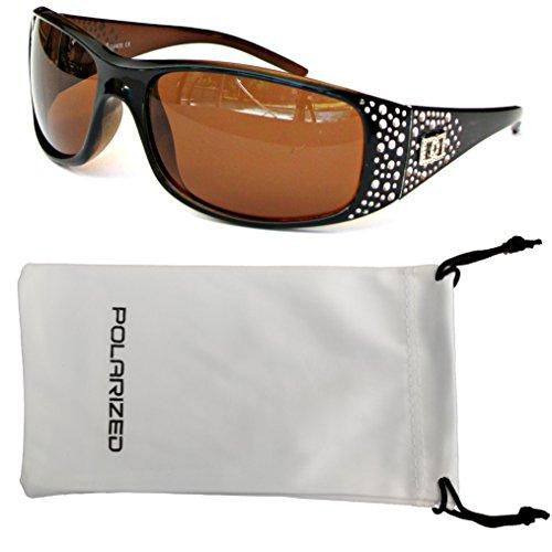 VOX Frauen polarisierte Sonnenbrille Designermode Brillen kostenlos aus Mikrofaser Beutel - Schwarz und Amber Frame-Amber-Objektiv