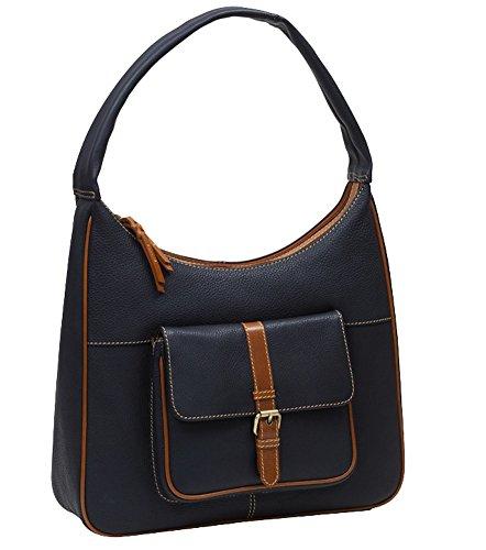Rowallan Prelude Handtasche mit Scoop-Top, Marineblau/Hellbraun -