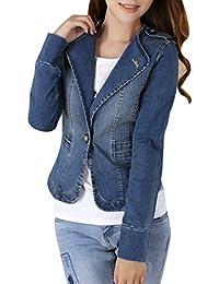 Yasong Women Ladies Girls Slim Fitted Long Sleeve Denim Light Wash Faded Jean Jacket Casual Suit Peplum Jacket Blazer One Button