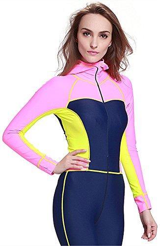 YEESAM Damen UV-Anzug UPF>50 Schutz swetsuit Schwimmanzug Schnorchelanzug Overall Watersport Burkini (Rosa, Asien S - Höhe: 158-165 cm)