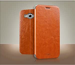 MOFI Premium Vintage Leather Slim Flip Best Cover Case with Stand For Samsung Galaxy E7 - Brown