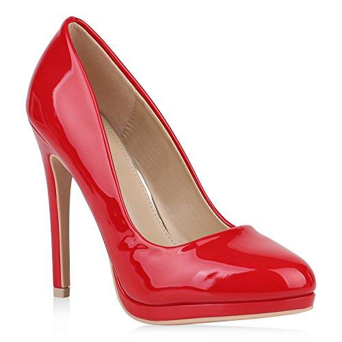 Damen High Heels Pumps Lack Schuhe Partyschuhe Stilettos 152895 Rot Lack 39 Flandell