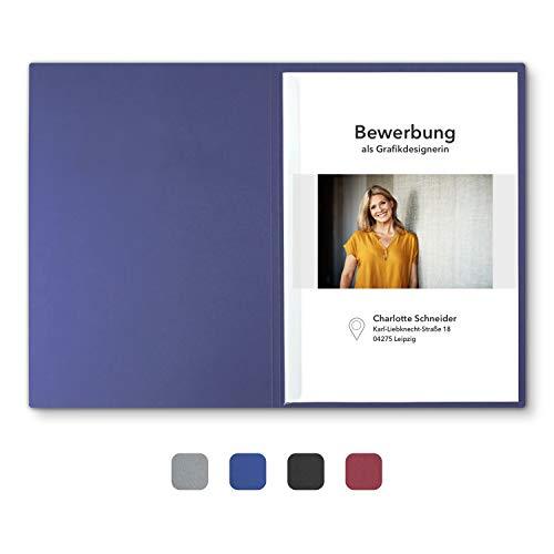 """8 Stück 2-teilige Bewerbungsmappen Blau mit 1 Klemmschiene in feinster Lederstruktur - hochwertige Prägung """"BEWERBUNG"""""""