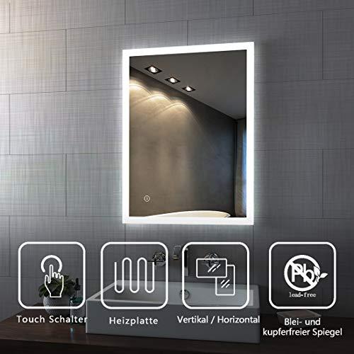 Spiegel Wandspiegel mit LED Beleuchtung 80 x 60 x 4,5 cm Badspiegel Lichtspiegel mit Touchschalter und beschlagfrei IP44 energiesparend - Kaltweiß -