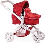 Götz 3402864 Puppenwagen 2 in 1 mit Filz 4-rädriger roter Puppenwagen - passend für alle Puppen bis 50 cm - geeignet für Kinder ab 3 Jahren