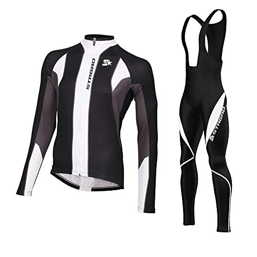 Mengliya MLY Herren Radfahren Winter Thermal Fleece Radtrikot mit Tr?gerhosen Anzug Sets Mountainbike-Trikot Polster Radhose Suit Elite Thermal Barrier