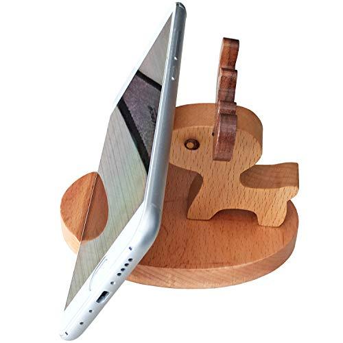HyFanStr Mini Elefante bolígrafo/Lápiz Soporte de Madera con Soporte de Escritorio de teléfono Organizador de Almacenamiento