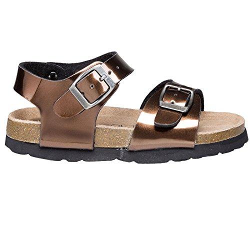 Bronze Metallic Kid Schuhe (BIOSOFT Kinderschuh K35 Kinder Freizeit Sandale | Sandalette | Schuh mit Front und Fersenriemen | Riemchensandale - | metallic glänzend braun | Brown Shiny Bronze - 26)