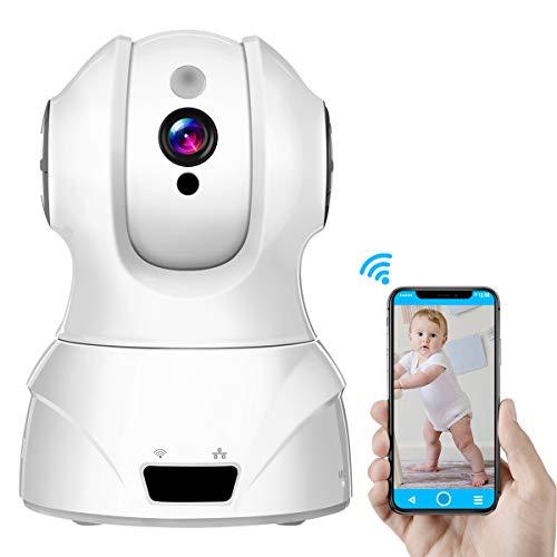 Cámara Wifi doméstica, Cámara de vigilancia interior Sawake, Cámara de vigilancia con visión nocturna, Monitor para bebés, Cámara doméstica, HD 1080P 2MP 350 °, P2P, Almacenamiento en la nube, 128G TF, 2.4 GH Blanco