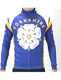 BSK Yorkshire Rose Blue Mens Long Sleeve Cycling Jersey Cycle Shirt Top e2a1963d7