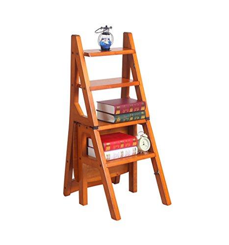 Klappstufen Massivholz-Klappstuhl Multifunktions-Trittleiter/Stairway Chair mit 4 Stufen (Farbe : #1)