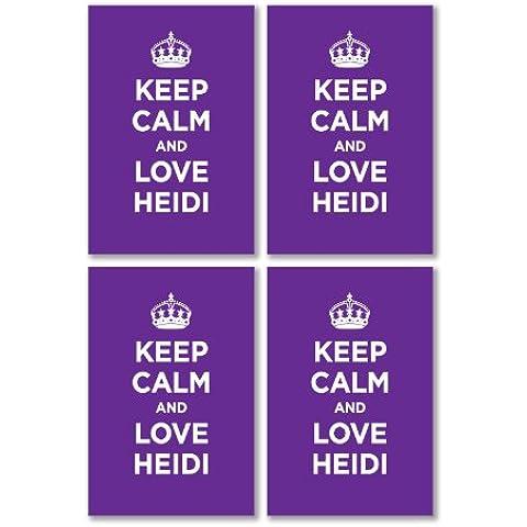 Confezione di Adesivi in Vinile lucido: Keep Calm And Love Heidi lilla lavanda WW2WWII parodia cartello (4adesivi, 10,5x 7/4.1x 2.8in)