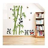 Demana Wandaufkleber Grüner Bambus Panda Schmetterlinge Abnehmbare DIY Wandsticker Wandtattoo für Sofa TV Hintergrund Dekoration Wohnzimmer Schlafzimmer