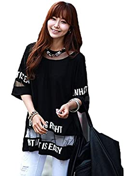 Hqclothingbox Women's Lady Summer Korean Short Sleeve Lace Loose Splice Thin T-Shirt