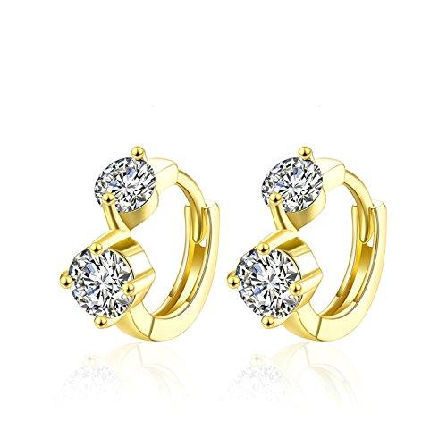KnSam Geometrica Forma Donna Orecchini Zircone a Diamante Rotonda Placcato Oro Anallergici