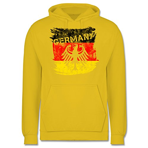 EM 2016 Frankreich Germany mit Adler Vintage Männer Premium Kapuzenpullover  / Hoodie Gelb