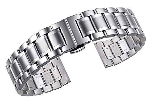 JINSH Luxus-Metallarmbänder aus massivem Edelstahl mit gebogenen und geraden Enden (Size : 19mm)