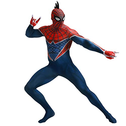 Mann Avengers Spider Kostüm - Marvel Spiderman Kostüm Adult Spider-Punk Film Cosplay Body Männer Kostüm 3D Spider-Man Overall Kostüme für Halloween,Adults,XXL