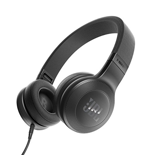 JBL E35 On-Ear Leicht Kopfhörer im Faltbaren Design mit 1-Tasten-Fernbedienung und Abnehmbarem Mikrofonkabel - Schwarz