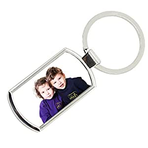 Personalised Full Colour Photo Rectangle Keyring with Engraved Text on Reverse