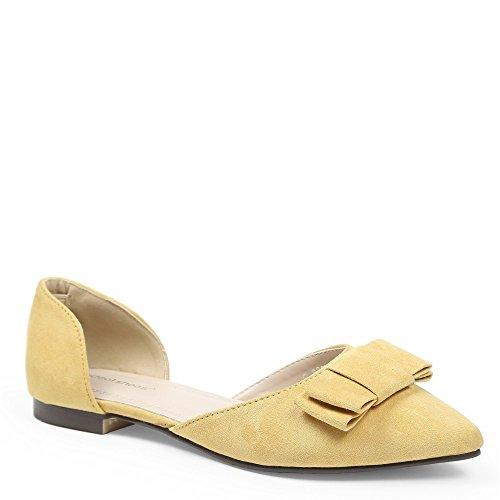 Ideal Shoes-Ballerine con estremità appuntita, effetto pelle scamosciata  Evanie Giallo