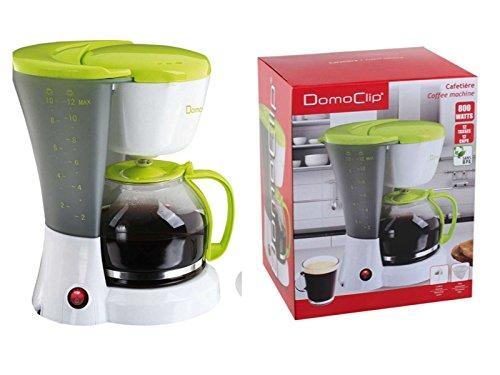 Machine à café avec verseuse en verre 1,5 l (Cafetière pour env. 12 tasses, plaque de maintien au chaud, 800 W, Blanc/Vert)