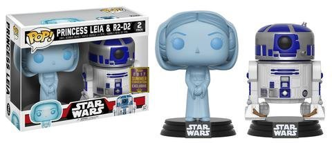 Funko - Figurine Star Wars - 2-Pack Leia Holo & R2D2 Exclu Pop 10cm - 0889698200417 (Wackelkopffigur Wars Star)