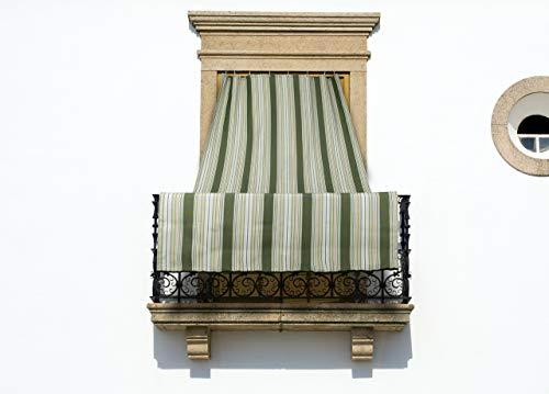 COINGROSTEX Tende da Sole per Esterno con Anelli, Misura: 145x250cm, Disegno Riga Fine Colore Verde