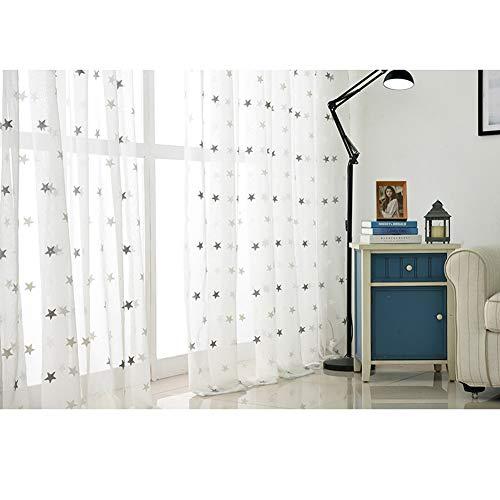 Tende da ricamo piccole stelle in cotone con tende in filato bianco garza soggiorno camera da letto studio,greystars,250 * 270cm