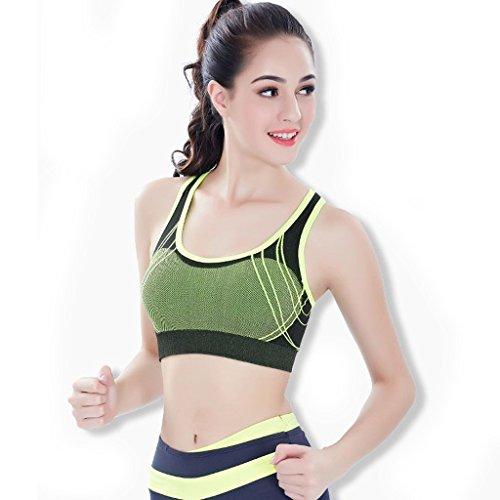 ny Sports Sous-vêtements Shock Running Fitness Fitness Yoga Pas de traces No Steel Ring Bra Vest Gather Bra Vert