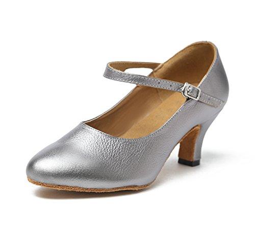 Minitoo GL209da donna tacco basso in pelle Latina professionale scarpe da ballo matrimonio sera pompe, grigio (Grey), 43