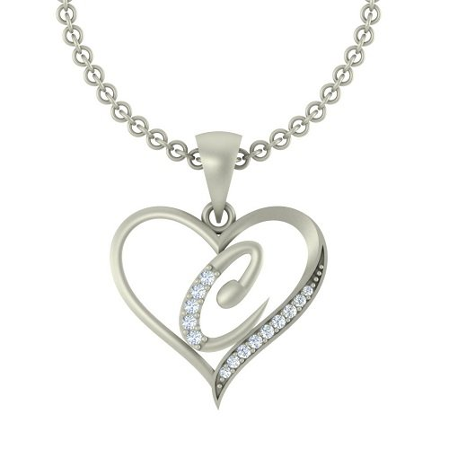 "Kanak Jewels Initial Letter ""C"" In Heart Shaped With Chain Silver Plated Cubic Zirconia Brass Pendant For Everyone"