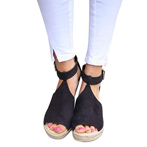 (Ears Frauen Mode PU Leder Sandalen Bequem Leichte Schuhe Outdoor Schuhe Retro Atmungsaktiv xiangganrnschuhe Boden Steigung Einzelne Schuhe Sandalen Wedges Hohe Knöchel Sandalen Casual Schuhe)