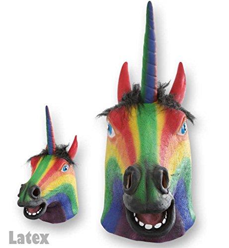 KarnevalsTeufel Maske Einhorn Regenbogenfarbe Rainbow Einhornmaske hochwertig Pferdemaske Phantasiefigur Fantasie Unicorn Tiermaske Vollmaske Kostümergänzung Gesichtsmaske Latexmaske Maskerade
