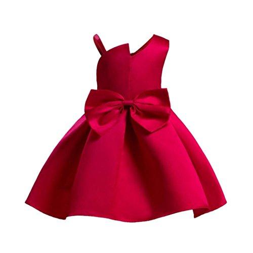 OverDose Kleinkind Kinder Baby Mädchen Kleidung Blume Hochzeit Brautjungfer Festzug Prinzessin Kleid(D-Rot,8T) (Kleinkind Satin Pyjama)