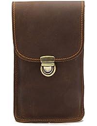 Buyworld Genuine Men Waist Pack Retro Style Male Fanny Pack Phone Money Card Purse Men Hook Belt Bag Vintage Men...