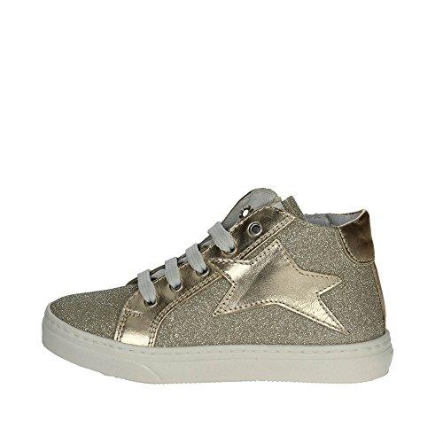 CIAO BIMBI - Sneaker à lacets dorée en cuir et glitter, soignée dans tous ses détails, fille, filles