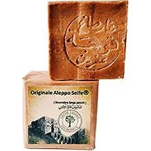 Gereifte original Aleppo ® Seife XXL, nach jahrtausendem altem Traditionsrezept ca. 50% Olivenöl & 50 % Lorbeeröl, Handarbeit, veganes Naturprodukt ca. 200 g, +/- 15 %, über 6 Jahre gereift: PH Wert 8, Detox Eigenschaften