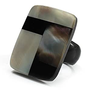 Avalaya Square Shaped Shell Ring (Black Tone) - size P